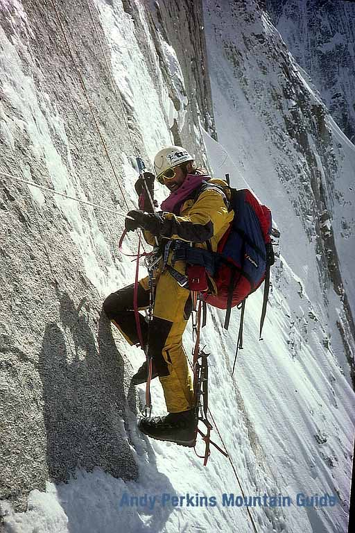 Above the Sheraton was the hardest climbing on smooth granite slabs overlaid with inches of ice
