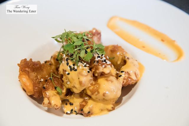 Garides Loukoumades - Cherry shrimp tempura, spicy aioli