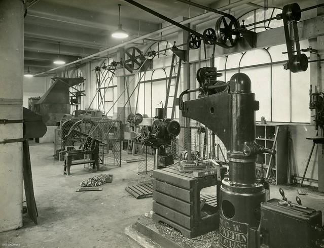 Workshop on ground floor - Electricity Department Head Office, Cumberland Street, 1940