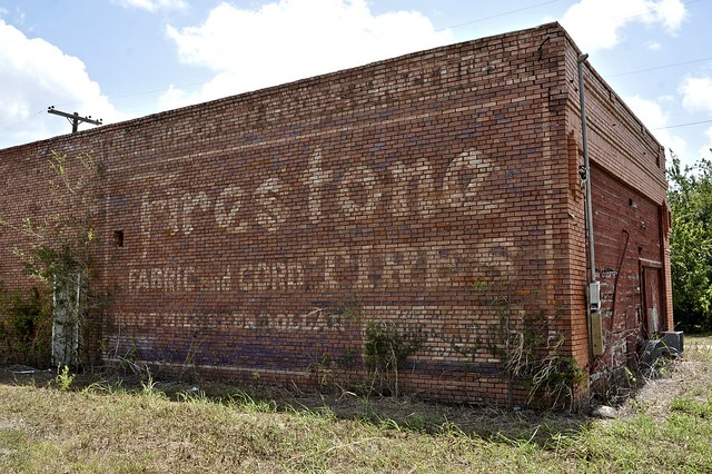 Firestone Fabric and Cord Tires Ghost Sign - Lyons,Texas