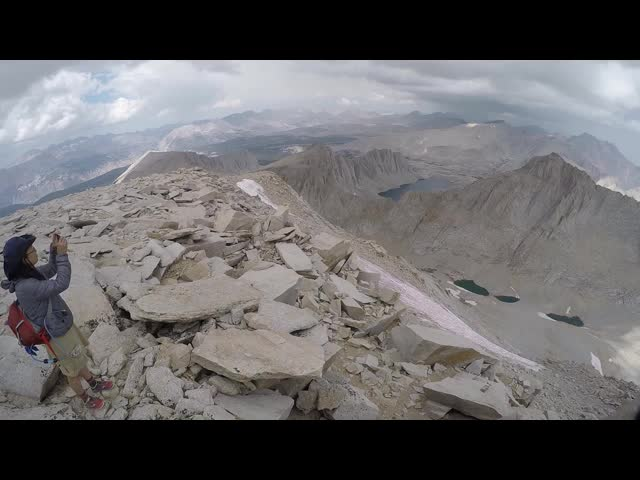1647 GoPro panorama video looking north from the top of Mount Whitney
