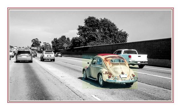 Old Beetle on the San Diego Freeway in Long Beach
