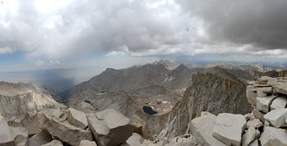 1613 A rainstorm to the south near Mt Langley and dark clouds made us decide to descend from Whitney's summit   by _JFR_