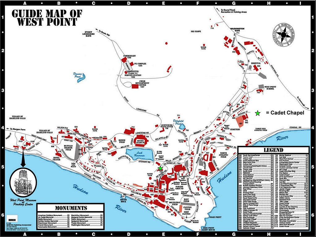 West Point Map | USMA Campus Map for location of Cadet Chape ...