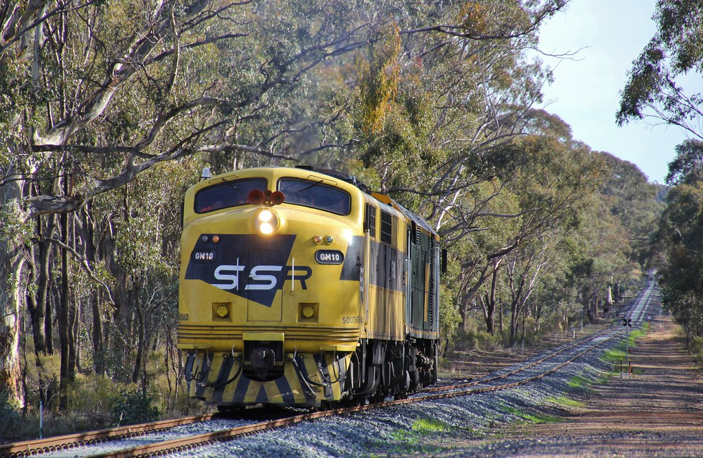 GM10 and 442s5 near the Pyrenees Hwy level crossing at Adelaide Lead bound for Maryborough by bukk05
