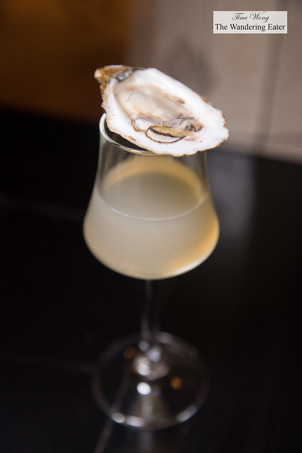 Spicy tequila oyster shooter - Thai chile tequila, lime, kaffir agave