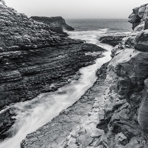 davenport stream river ocean waves current rocks rockformation flow longexposure nature landscape monochrome horizon california beach cloudy