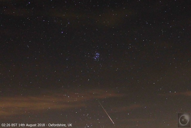 Perseid Meteor & The Pleiades 13th/14th August 2018
