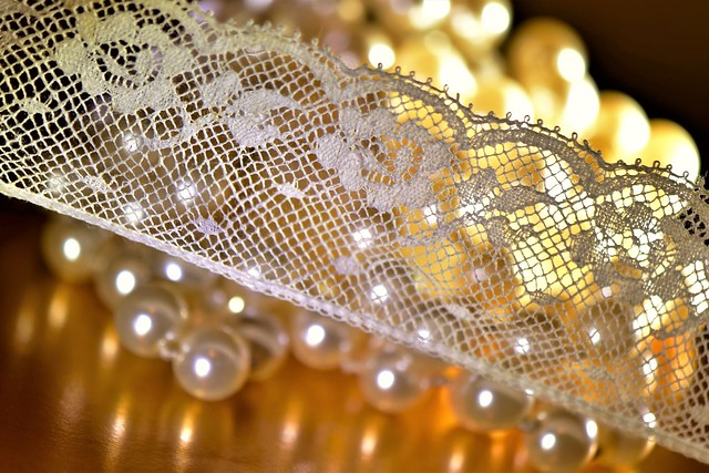Mesh  -  MacroMondays  -   Pearls & lace.