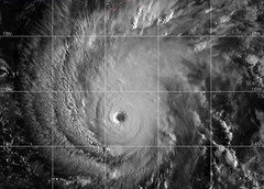 A satellite image of Hurricane Lane at 7 a.m. Hawaii Standard Time, Aug. 22. At 11 a.m. Hawaii Standard Time, the category 4 hurricane, which was located about 420 miles south-southeast of Honolulu, Hawaii, was moving west-northwest at 8 mph with maximum sustained winds of 155 mph. (U.S. Navy)