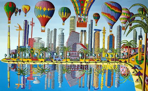 tel aviv skyline tel-aviv beach israel naive art תל אביב חוף הים ציור נאיבי רפי פרץ