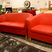Red sofa plus chair leatherette E250