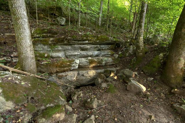 Knee Gasher Cave entrance, Bridgestone Firestone Centennial Wilderness WMA, White County, Tennessee