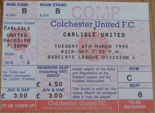 Colchester United V Carlisle United 6-3-90 Ticket | by cumbriangroundhopper