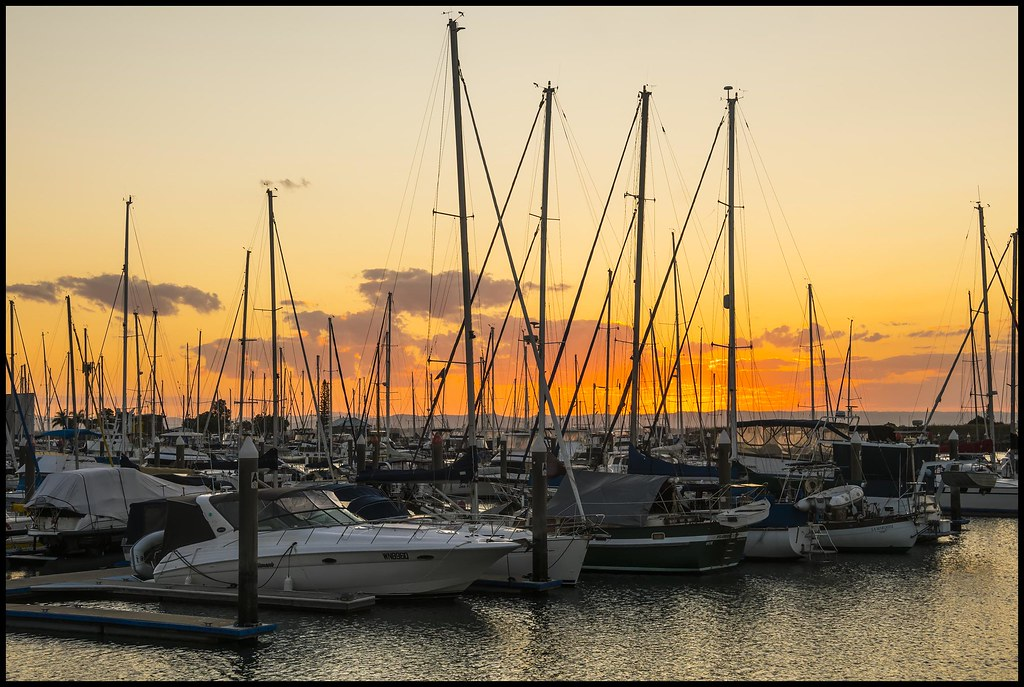 At the going down of the Sun over Scarborough Marina-4=