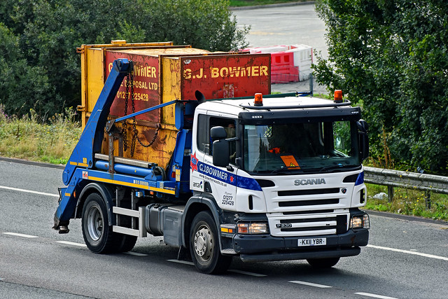 KX11YBR Scania P230 Skip Lorry GJ Bowmer on the M20