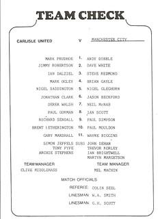 Carlisle United V Manchester City 12-8-88 | by cumbriangroundhopper