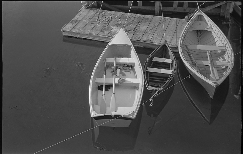 three skiffs, tied, rope, dock, Rockland, Maine, Leica C1, early August 2018