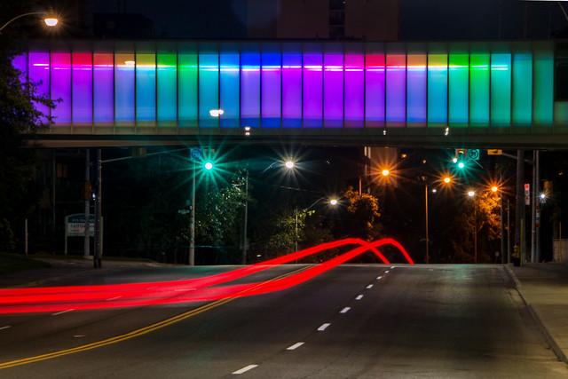 Psychedelic pedestrian overpass
