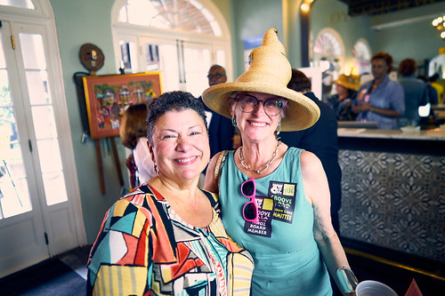 Beth Arroyo Utterback and Deb Harkins at the WWOZ Groove Gala on Sep. 6, 2018. Photo by Eli Mergel.