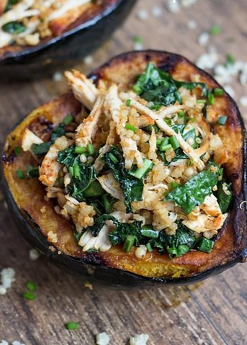 90 - Chicken Stuffed Acorn Squash Recipe | by Onlinefoodblog