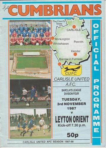 Carlisle United V Leyton Orient 3-11-87   by cumbriangroundhopper