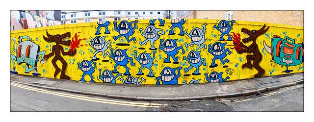 Street Art (Nylon, Dbl Trbl, Pez), East London, England.