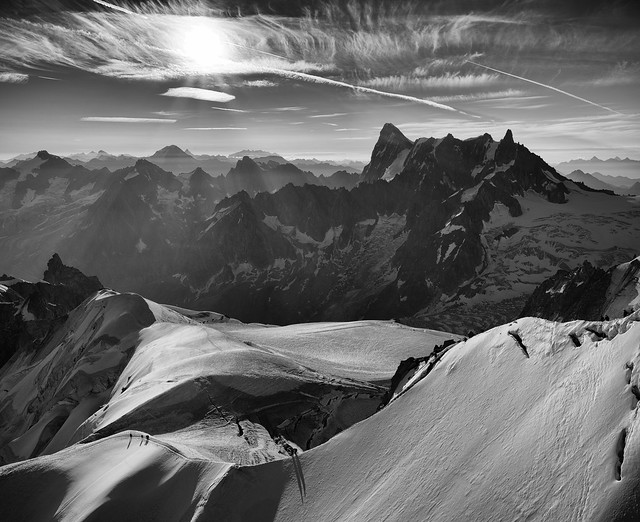 Sunrise over Mont-Blanc massif with Grandes Jorasses