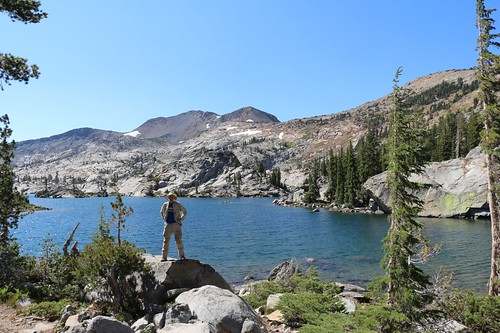 1964 Me posing on the shore of Fontanillis Lake with Dicks Peak behind me from the Pacific Crest Trail | by _JFR_