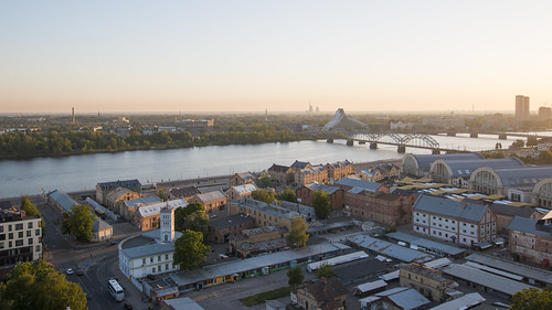riga latvia lettland city cityscape citycenter baltic balticnation eu europe europa oldtown hansestadt daugava river aerialview aerial sunset