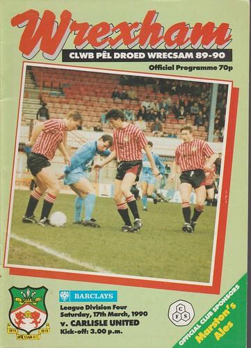 Wrexham V Carlisle United 17-3-90 | by cumbriangroundhopper