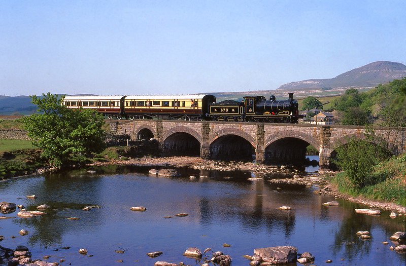 on a warm spring day Maude crosses the Ribble at Helwith bridge on its was to Rainhill.17-5-1980