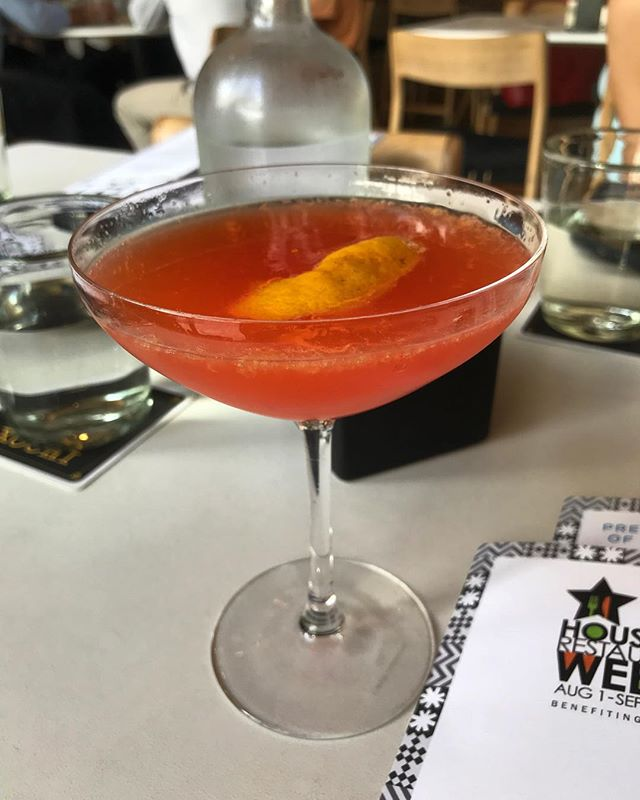 "#kvptexas Cheers! ""All Good Things"" from @xochihou in Houston. Chile-infused campari plus sparkling wine, orange and coffee mist. Sweet and bitter notes balanced. NOM. #latergram #cocktails #kvpinmybelly"