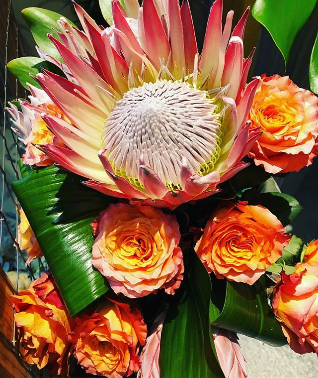 The flower is the king of this bouquet! #kingprotea #freespiritroses #boldblossoms