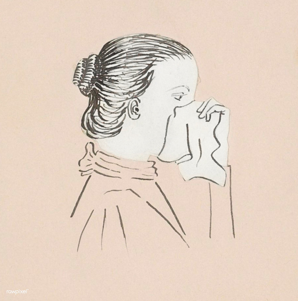 Head of a woman with a handkerchief against her nose (1894) by Julie de Graag (1877-1924). Original from the Rijks Museum. Digitally enhanced by rawpixel