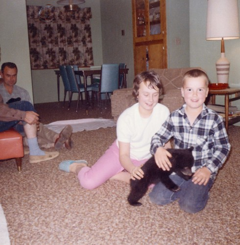 My brother and sister with a bear cub in our home, 1965. | by Gary Sharp