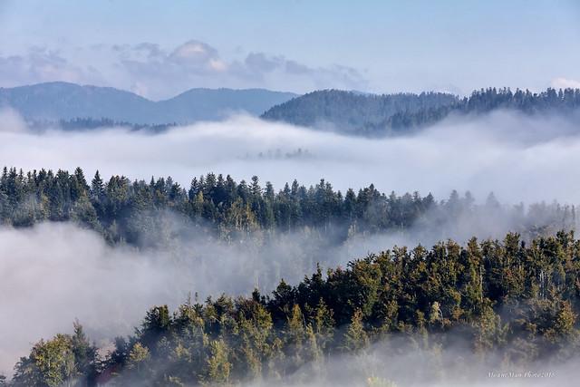 Jutarnje magle na Lokvarskom jezeru i oko njega