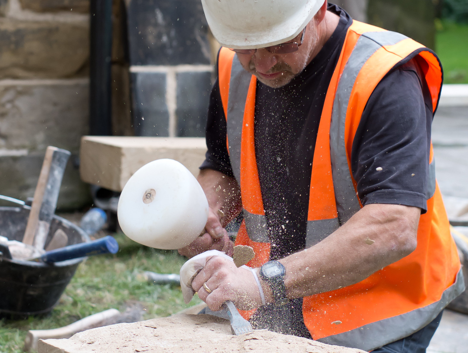 Steve Coupland works the stone at Holy Trinity Goodramgate, York