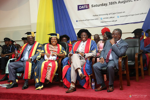 The Chancellor, Dr. Sir. Sam E. Jonah; Chairman of Council, Mrs. Nancy O. C. Thompson; Vice-Chancellor, Prof. Joseph Ghartey Ampiah and Director-General of the Ghana Health Service, DR. ANTHONY NSIAH-ASARE at the Ceremony.