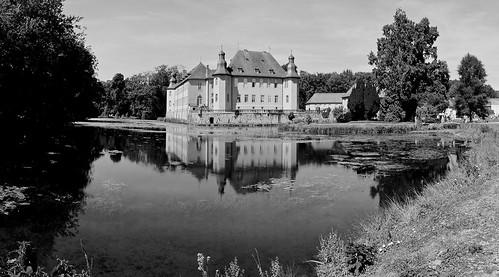 sonyalpha65 carlzeissvariosonnartdt1680mmf3545za schlossdyck palace landscape blackwhite bw