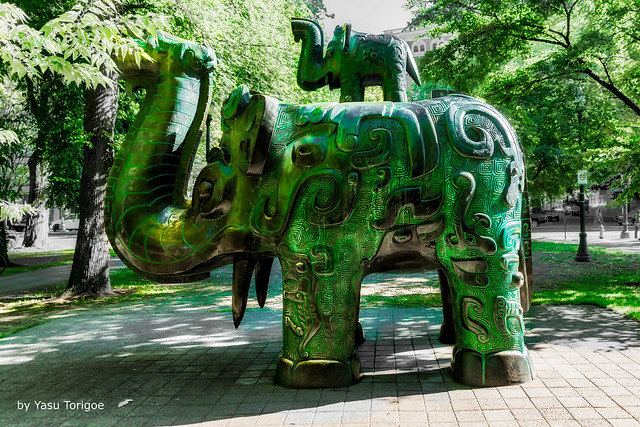 Huge Sculpture of Elephants in the North Park Blocks in the City of  Portland OR USA-2a