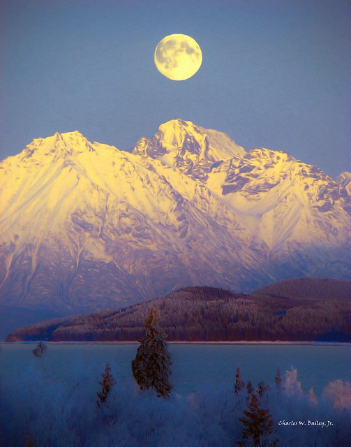 Digital Oil Painting of Lake Clark by Charles W. Bailey, Jr.