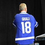 IPDLN co-director Bill Ghali wearing the Toronto Maple Leafs jersey gifted to him by his IPDLN co-director Michael Schull.