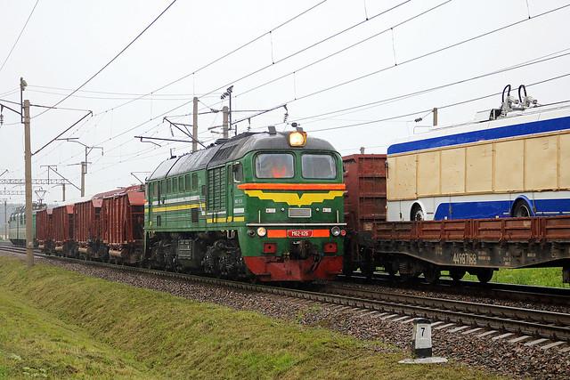 Тепловоз М62-1126 на перегоне путевой пост Городнянский/Орша-Центральная.