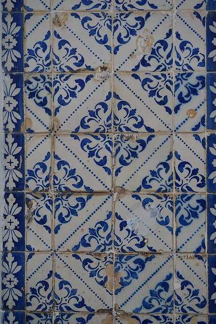 Tile detail on building in Salvador, Brazil