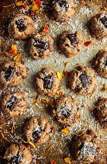 Almond, Coconut, Chocolate Chunk Cookies- Vegan and Gluten-Free from HeatherChristo.com | by Heather Christo