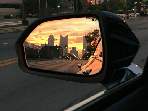 columbus ohio mirror rear view skyline dawn sunrise franklinton westbroad