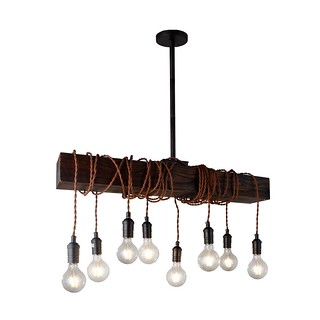 Wrapped Wood Beam Rustic Farmhouse Pendant Ceiling Light | by Lighting Must