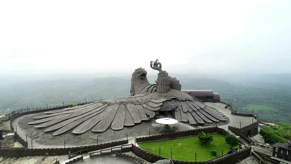 The World's Largest Bird Sculpture Sits Atop a Rolling Hillside in Kollam, India in Tribute to Women's Safety