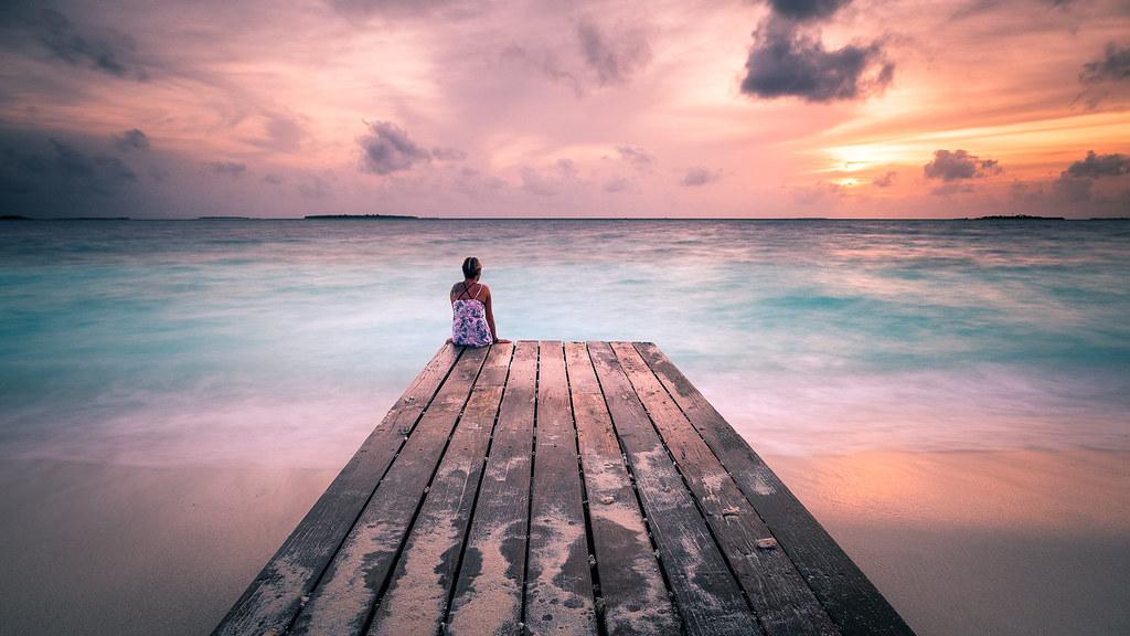 peaceful sunset - maldives